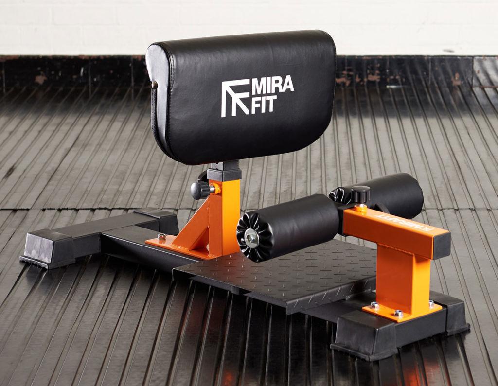 mirafit sissy squat bench on gym mats