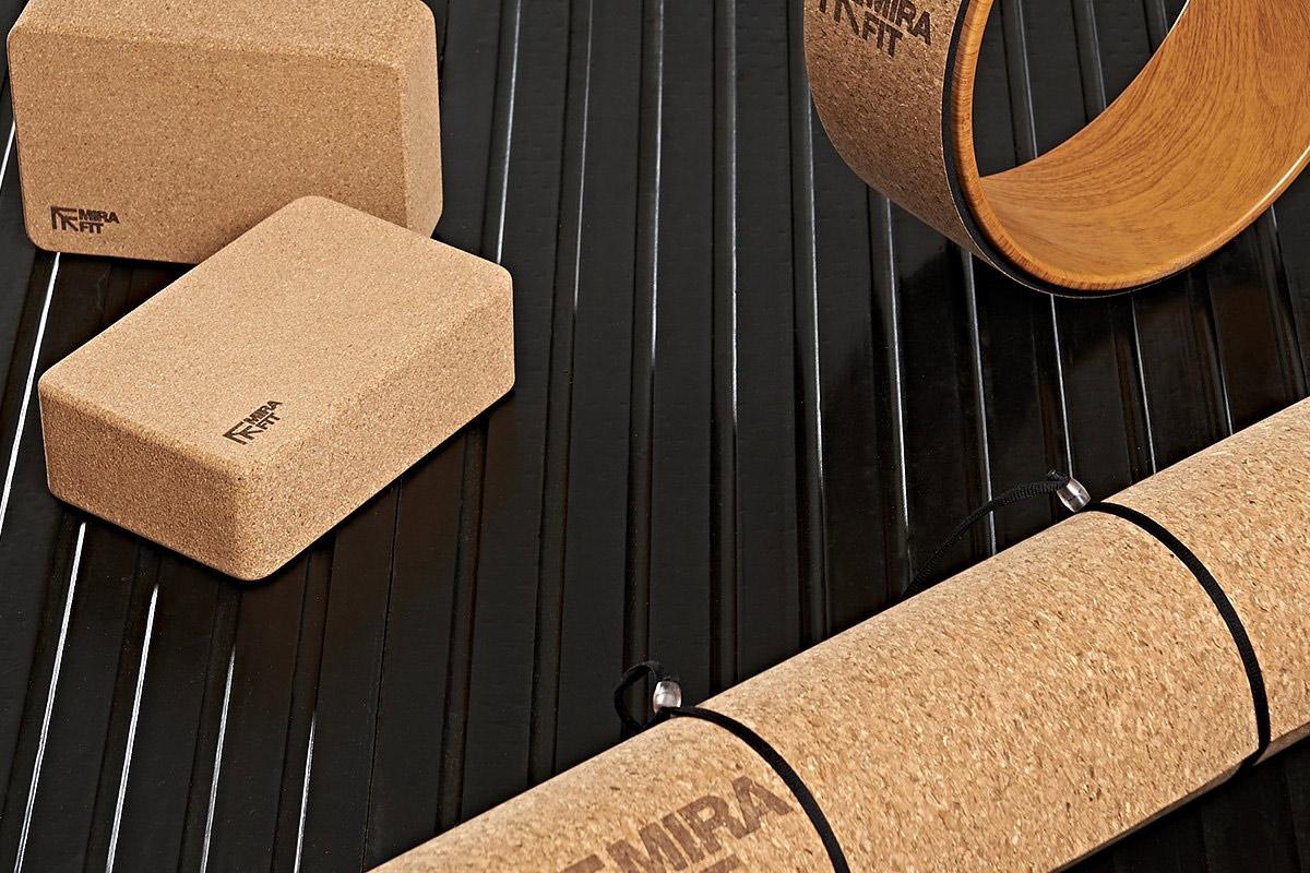 the cork yoga kit including a yoga wheel yogablocks and a yoga mat