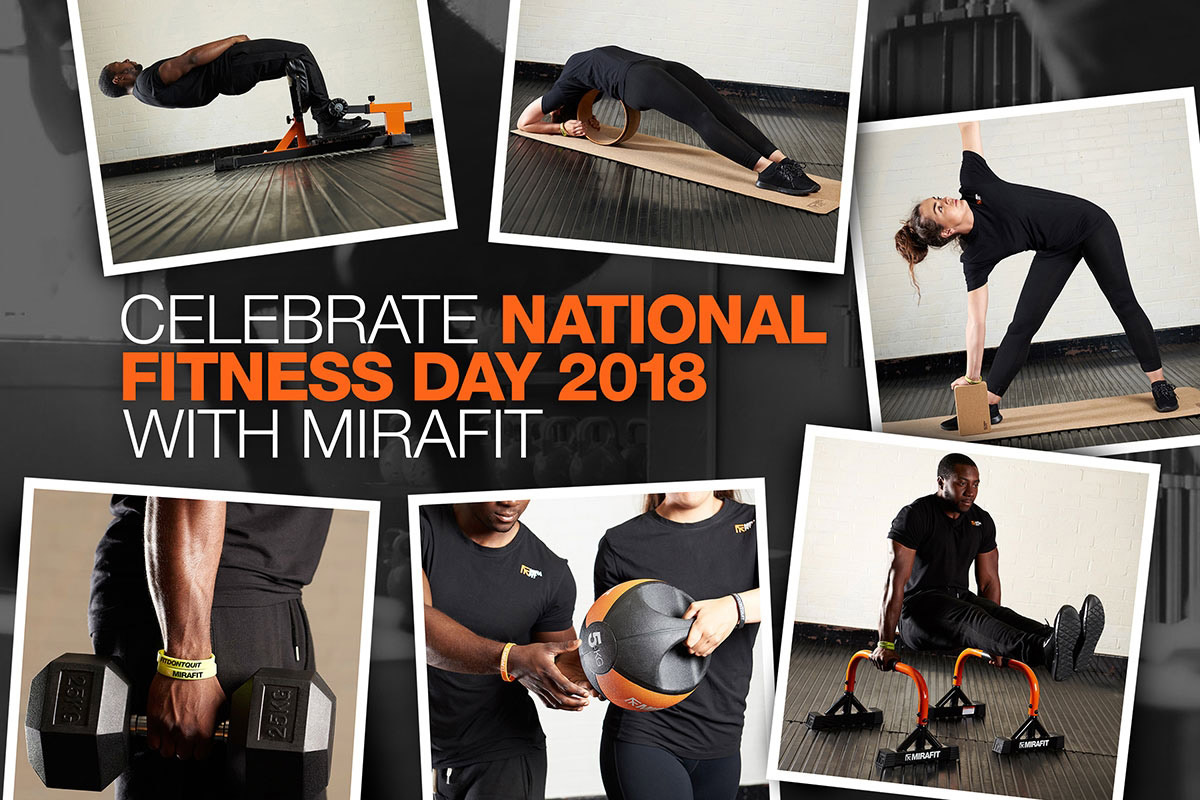 collage of photos of mirafit fitness models for national fitness day