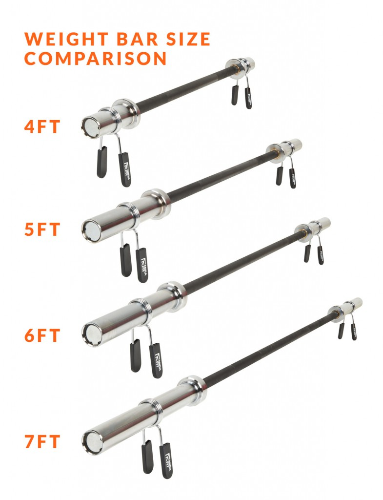 Weight lifting bar size comparison