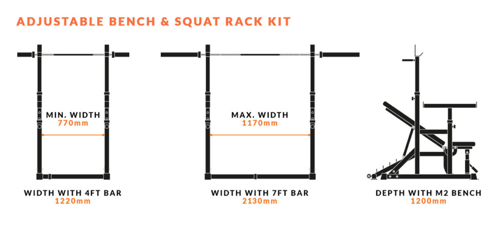 mirafit adjustable squat rack with weight bench space needed diagram