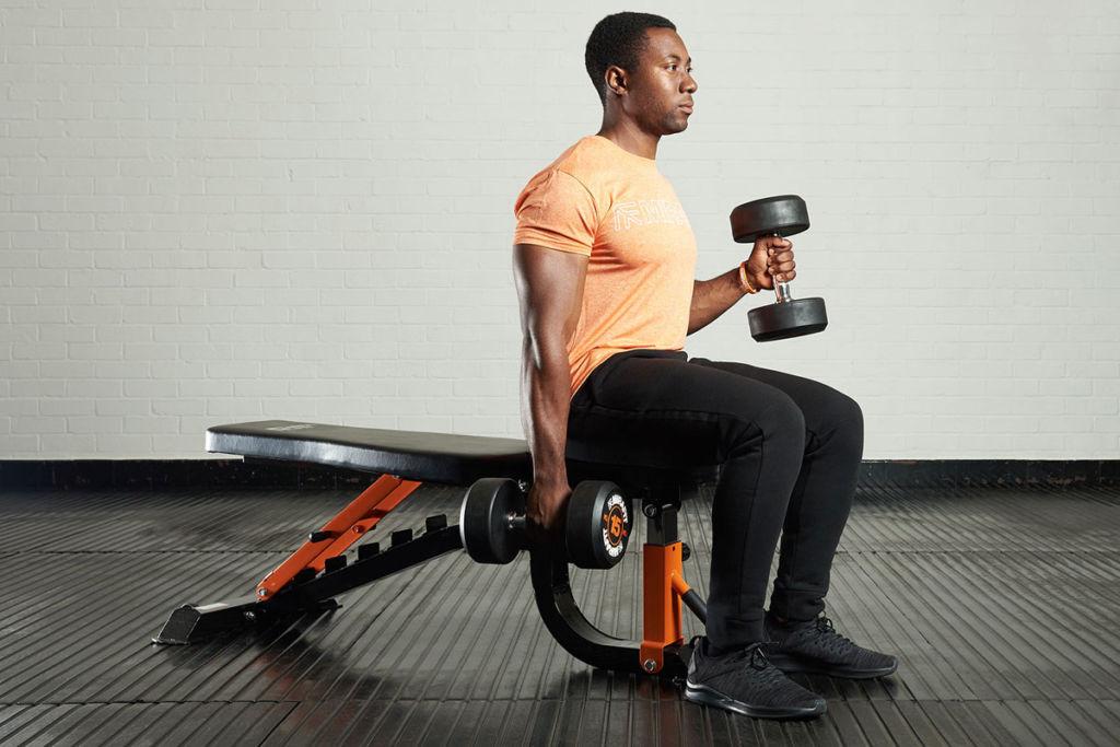 fitness expert on a mirafit weight bench doing hammer curls