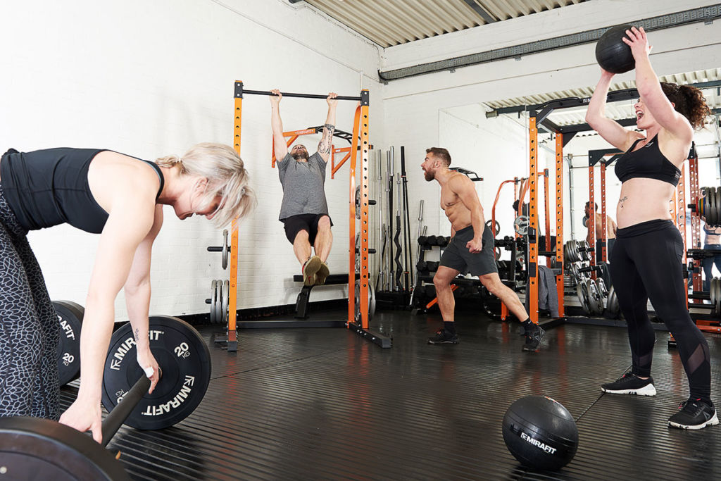 CrossFit spitfire athletes working out with Mirafit fitness equipment