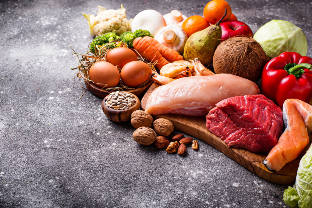Selection of foods from the Paleo Diet food group